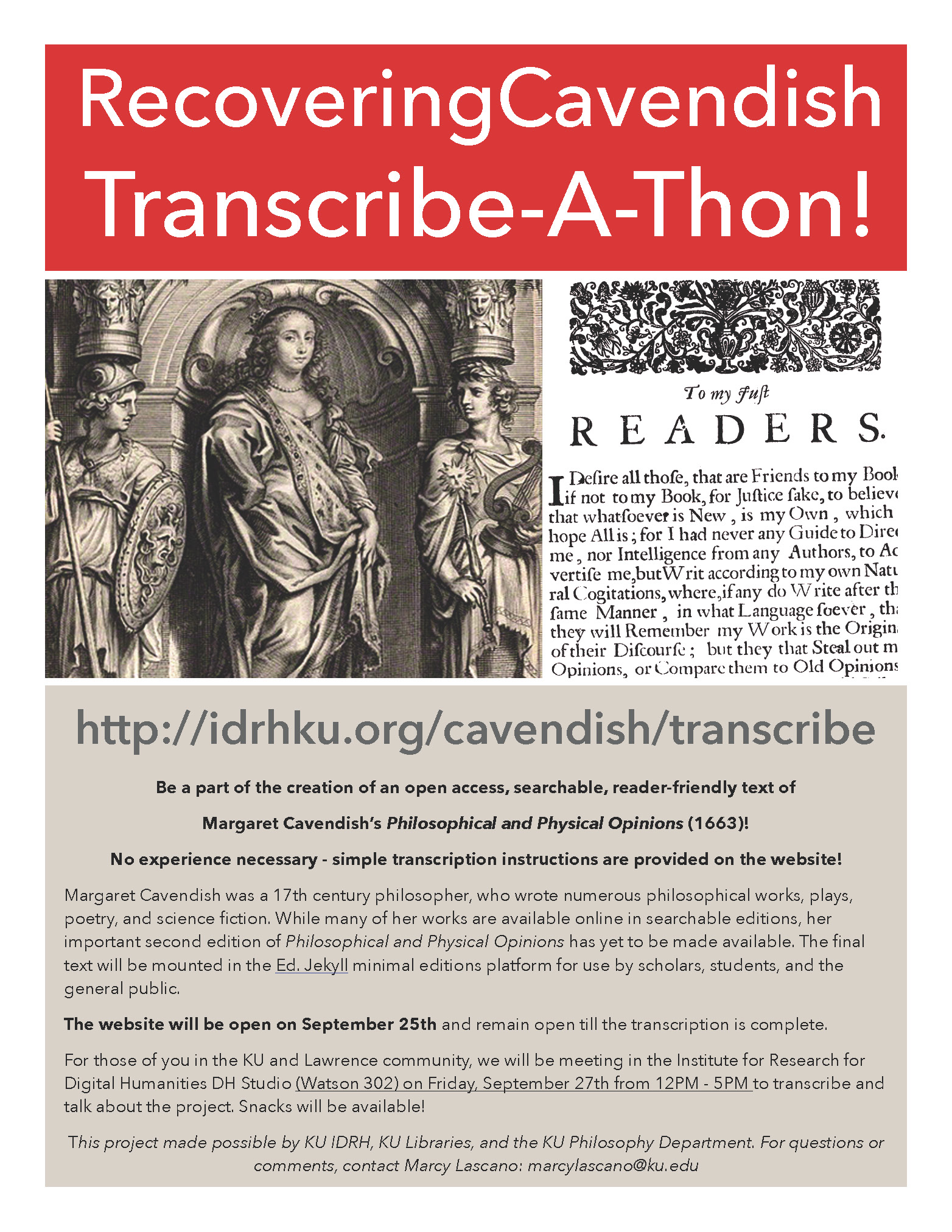 Recovering Cavendish Transcribe-a-Thon, September 27, noon-5:00pm, Watson 302, click link for more info.)