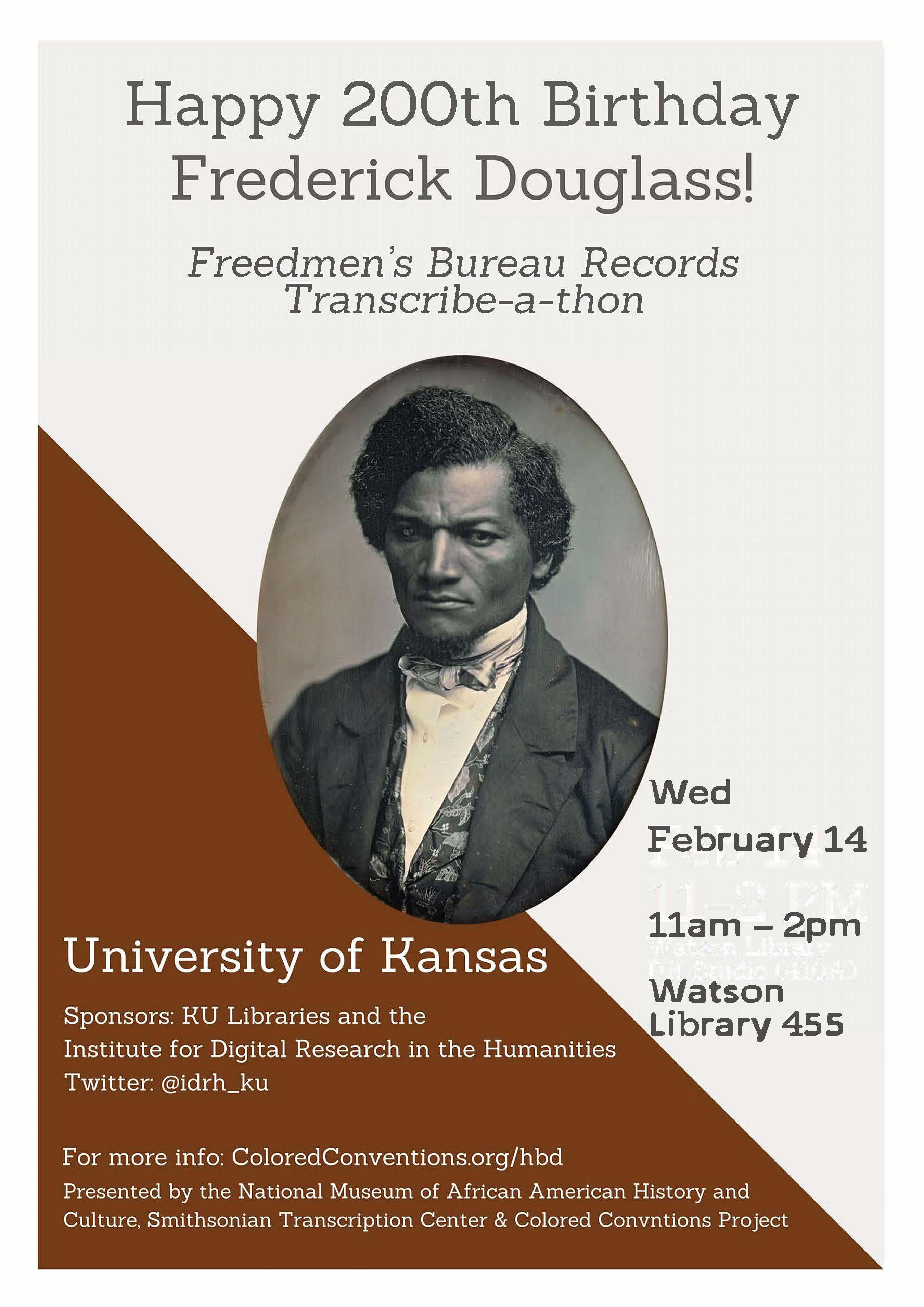 Federick Douglass Birthday Transcribe-a-Thon Flyer